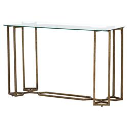 Natalie Modern Classic Geometric Raw Brass Tempered Glass Console Table