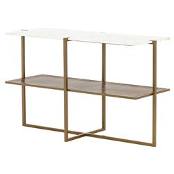 Ollie Modern Classic Antique Brass Frame White Marble Console Table