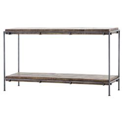 Solomon Industrial Loft Gunmetal Frame Mango Slab Shelves Console Table