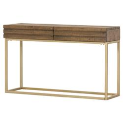 Torry Modern Classic 2-Drawer Reclaimed Pine Wood Brass Legs Console Table