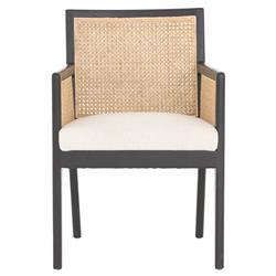 Annette Coastal Beach White Flax Performance Woven Natural Cane Ebony Oak Arm Chair