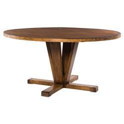 """Camille Modern Classic Round Reclaimed Mango Wood Dining Table - 60""""W"""