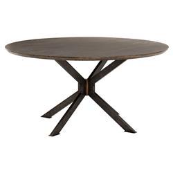 """Vance Mid Century Black Spider Legs Dark Round Oak Dining Table - 60""""W"""