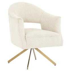 Alexis Modern Classic Ivory Upholstered Polished Brass Occasional Arm Chair