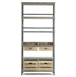 Allenby Industrial Weathered Oak 4 Shelf Rolling Bookcase - S