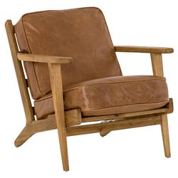 Rider Modern Classic Brown Leather Cushion Solid Oak Wood Arm Chair