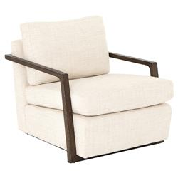 Sarah Modern Classic Ivory Performance Dark Oak Occasional Arm Chair