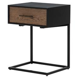 Carrey Modern Classic 1-Drawer Black Oak Wood Nightstand