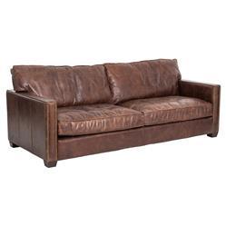 Darla Modern Classic Brown Leather Upholstered Ash Wood Brass Nailhead Sofa
