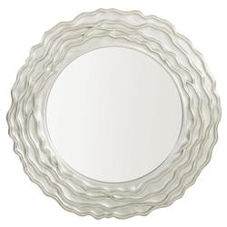 Augusta Modern Classic Silver Wood Inset Round Wall Mirror