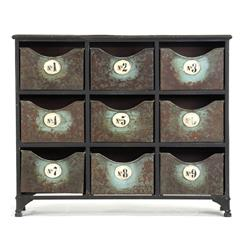 Reclaimed Industrial Iron 9 Drawer Storage Cabinet