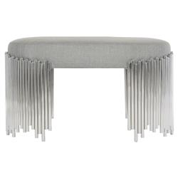 Augusta Modern Classic Grey Upholstered Steel Base Oval Bench
