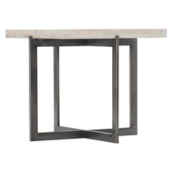 Hilda Modern Classic Travertine Stone Top Metal Bunching Square Coffee Table - Tall