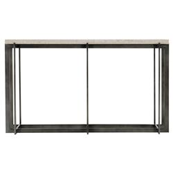 Hilda Modern Classic Travertine Stone Top Metal Rectangular Console Table