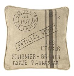 "French Country Farm Stand ""Lentilles Vertes"" Throw Pillow 
