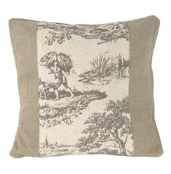 French Country Burlap Grey Toile Toss Pillow - 19x19