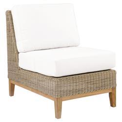 Kingsley Bate Frances Coastal White Wicker Teak Outdoor Sectional Armless Chair