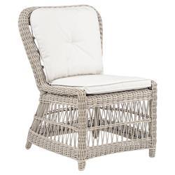 Kingsley Bate Southampton Coastal  Grey Woven Wicker Outdoor Dining Side Chair