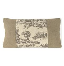 French Country Burlap Gray Toile Lumbar Toss Pillow | N035