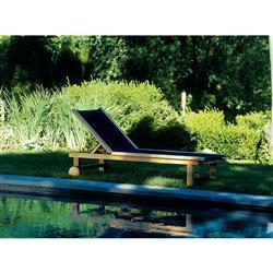 Kingsley Bate St. Tropez Coastal  Blue Teak Outdoor Adjustable Chaise Lounge