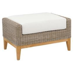 Kingsley Bate Frances Coastal  White Wicker Teak Outdoor Rectangular Ottoman