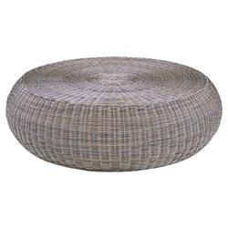Kingsley Bate Ojai Coastal Beach Grey Woven Wicker Outdoor Round Coffee Table