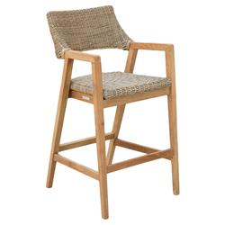 Kingsley Bate Spencer Mid Century Modern Brown Wicker Teak Outdoor Bar Stool
