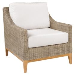 Kingsley Bate Frances Coastal Beach White Wicker Teak Outdoor Lounge Chair