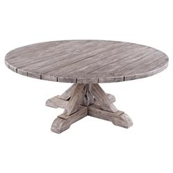 Kingsley Bate Provence French Country Grey Teak Outdoor Round Coffee Table
