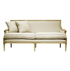 St. Germain French Country Natural Oak Louis XVI Natural Linen Sofa | B007-3 E255 A003