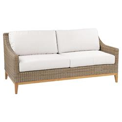 Kingsley Bate Frances Coastal Beach White Wicker Teak Outdoor Sofa
