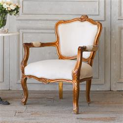 Eloquence French Country Style Vintage Armchair In Bright Gilt