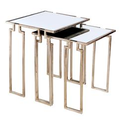 Hollywood Regency Antique Silver Leaf Mirror Nesting Side Tables