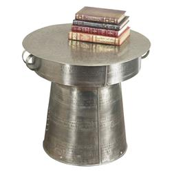 Interlude Antimo Hammered Iron Industrial Drum Table - 22 Inch