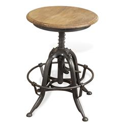 Novara Industrial Lime Wash Wooden Metal Rustic Stool