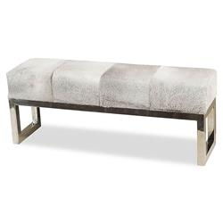 Moro Hollywood Regency Grey Hide Steel Bench