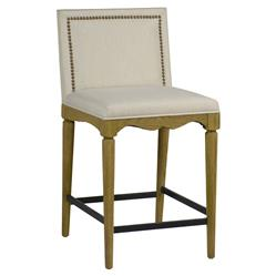 Gene French Country Beige Nailhead Trim Oak Counter Stool