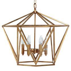 Krista Hollywood Regency Vintage Gold Geometric Chandelier