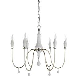 Amelia Modern Classic Pine Wood Silver Candle Chandelier