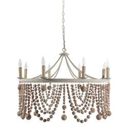 Beverly Coastal Beach Pine Wood Beaded Ring Chandelier