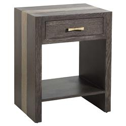 Ava Modern Rustic Dark Brown Oak Gold Nightstand