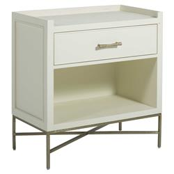 Lily Modern Classic Satin White Oak Gold Iron Nightstand
