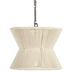 Giovanni Coastal Beach White Woven Cotton Hourglass Pendant