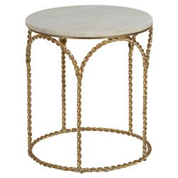 Anne Hollywood Regency White Marble Top Twisted Gold Side End Table