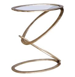 Mobius Modern Sculptural Antique Silver Leaf Metal End Side Table | 128063