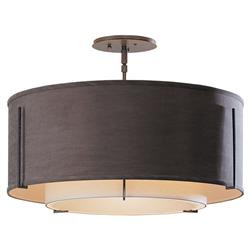 Hubbardton Forge Anna Modern Classic 3-Light Double Drum Shade Linen Semi-Flush Ceiling Light