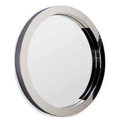 Wilshire Polished Steel Modern Deco Porthole Mirror - Small