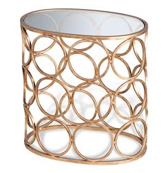 Brigit Modern Antique Gold Leaf Circle Side Table | 128064