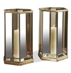 Caden Mirrored Antique Brass and Glass Hurricane Lantern-- Set of 2