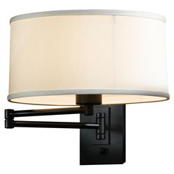 Hubbardton Forge Monette Moderm Black  Swing Arm Natural Anna Shade Wall Sconce